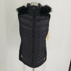 New Michael Kors Vest Down Puffer Faux Fur Hood